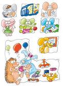 Porcupine, rabbit, toy, car, ball, — Stock Photo