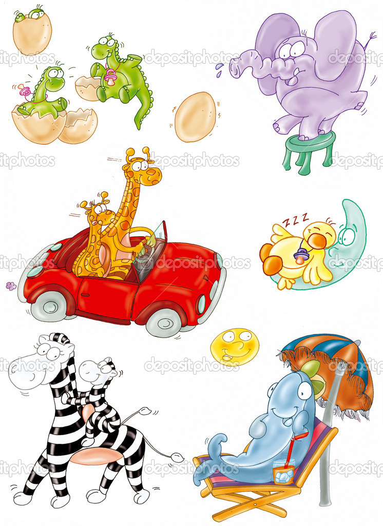 Animals, giraffe, zebra, dolphin  Stock Photo #5828872