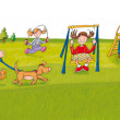 Park, swings, — Stock Photo