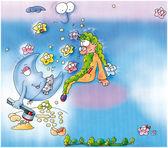 动画月亮神和准备与长面团 — 图库照片