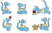 Blue dragon, math, funny, — Stock Photo