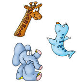 Elephant, giraffe, — Stock Photo