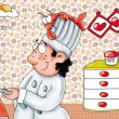 Cucina con cuoco — Stock Photo