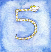 5 Snake,snake numbers, counting — Stock Photo