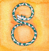 8 Snake,snake numbers, counting — Stock Photo