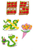 Snake, flowers, — Stock Photo
