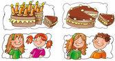Dilimli kek, mumlar — Stok fotoğraf