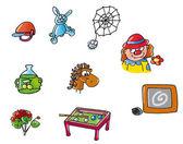 Disegni,piccoli,paagliaccio,biliardo,ragno,lavagna,olio,cavallo,ragno, — Stockfoto