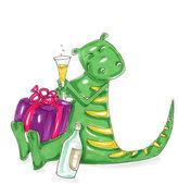 Drago,verde, — Stock Photo