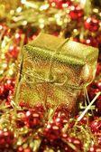 Christmas golden present — Stock Photo