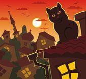 Turuncu gece, kedi, çatı — Stok Vektör