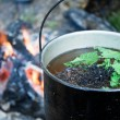 Teapot with liquid against fire — Stock Photo #5884208
