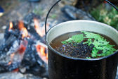 Teapot with a liquid against fire — Stock Photo