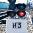 Stock Photo: The railway traffic light, train is forbidden, red light.