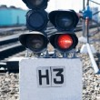 The railway traffic light, train is forbidden, red light. — Stock Photo #5890717