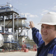 The engineer specifies on industrial oil and gas refinery in Sib — Stock Photo #6246980