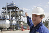 The engineer specifies on industrial oil and gas refinery in Sib — Stock Photo