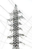 Silhouette of power grid tower — Stock Photo
