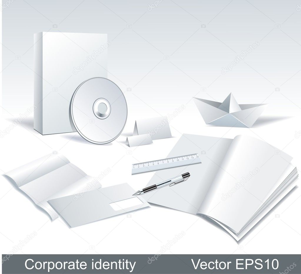 Vector set of white paper stationery elements.  — Stock Vector #5826682