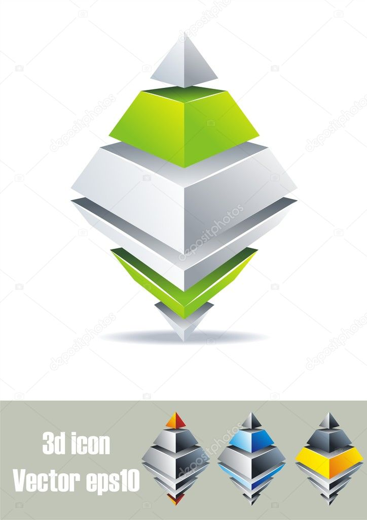 Prism design. 3D symbols. Colorful logo set. — Stock Vector #5908783