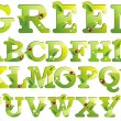Stock Vector: Green alphabet