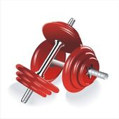 Dumbbells red — Stock Vector