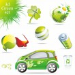 Green eco and bio symbols — Imagen vectorial