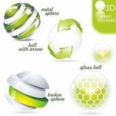 Green eco and bio symbols — Stock Vector