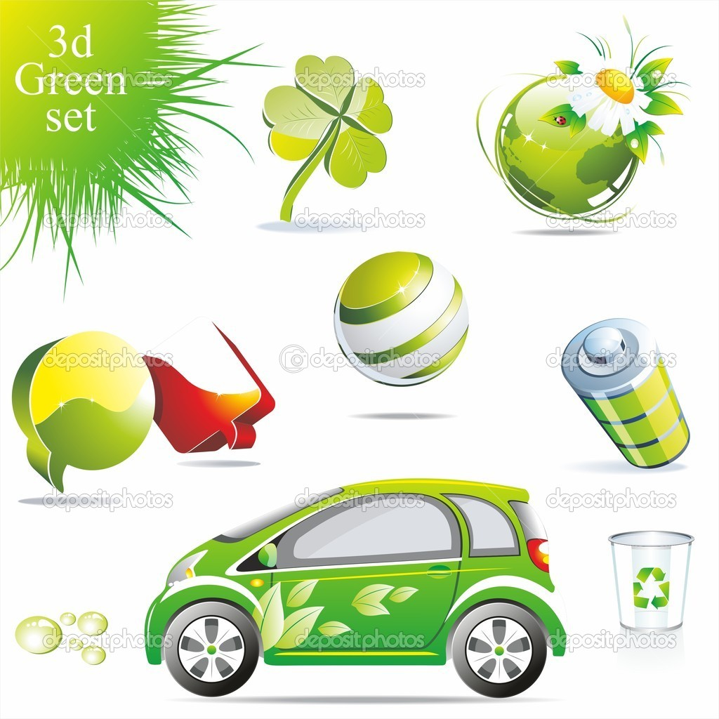 Eco related symbols and icons — Stockvectorbeeld #6208117