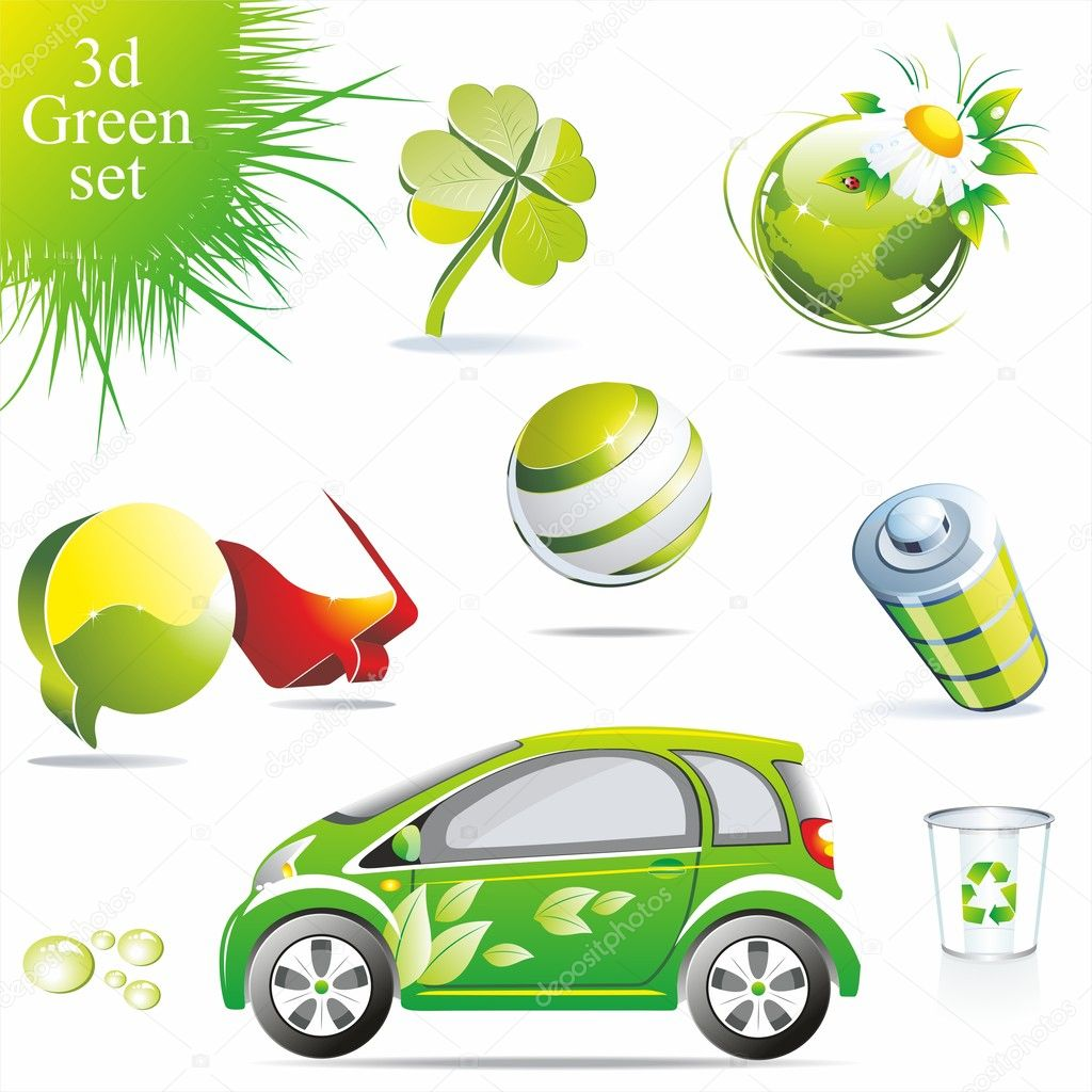 Eco related symbols and icons — Imagen vectorial #6208117