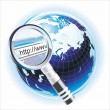 Globe with magnifying glass - Stock Vector
