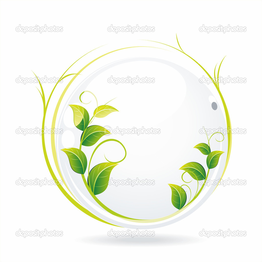 Vector nature background. An illustration of a white glass ball with  wet leaves  . — Stock Vector #6378711