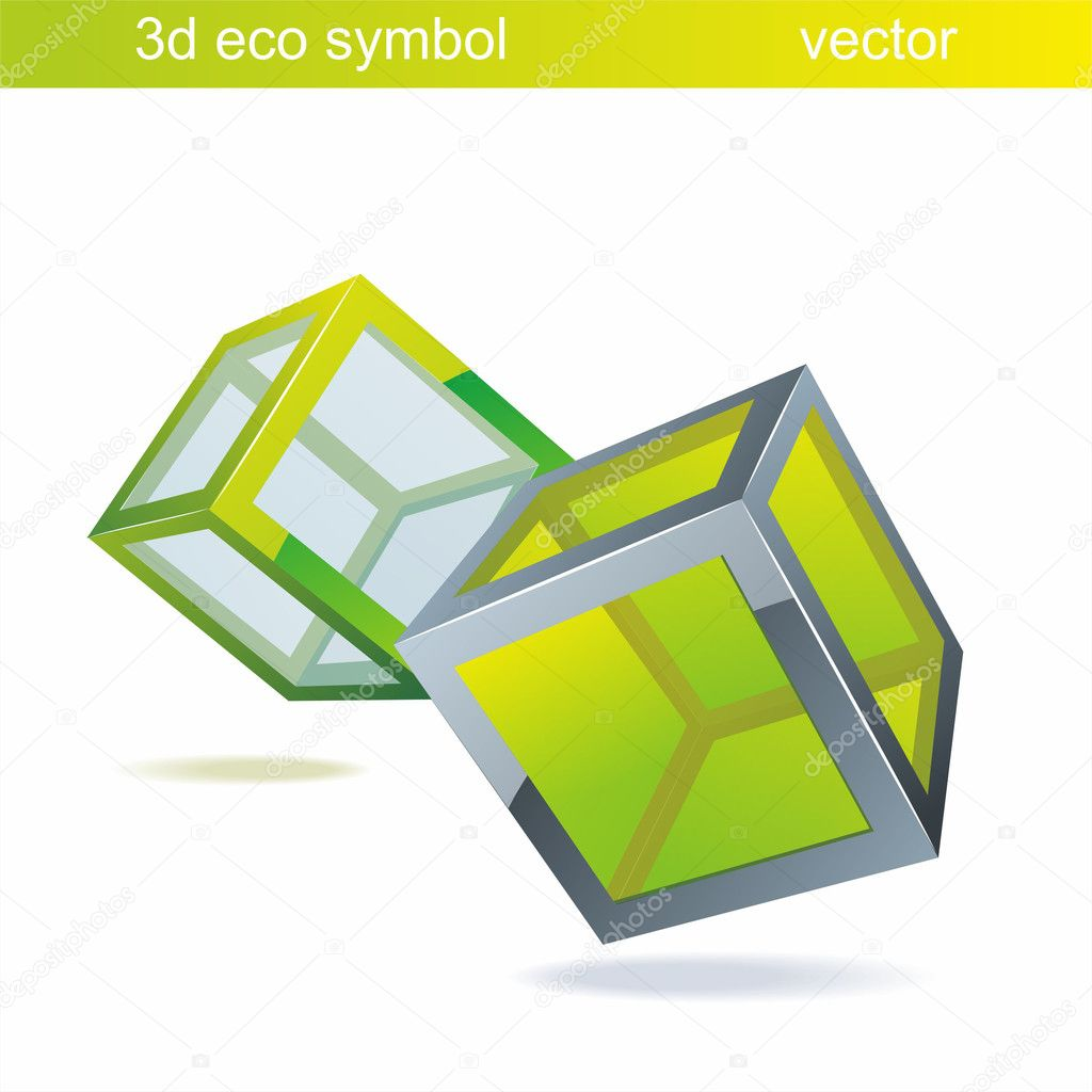 Vector blue  cube  with green glass. Eco symbol.  Stock Vector #6378724