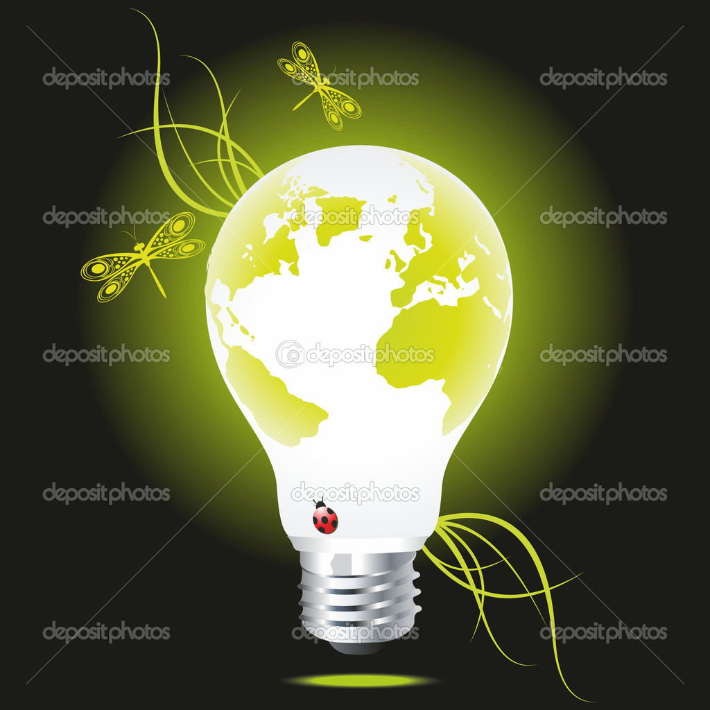 Bulb as the green globe with a grass and dragonflies. An ecological symbol. — Stock Vector #6378757