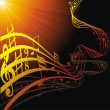 Music notes on staves - Image vectorielle