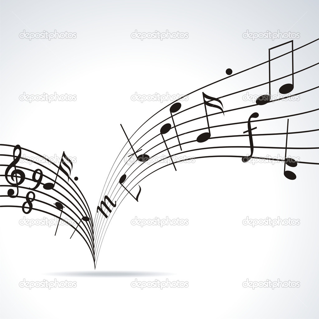 Music notes on staves. Vector music background. — Stock Vector #6406139