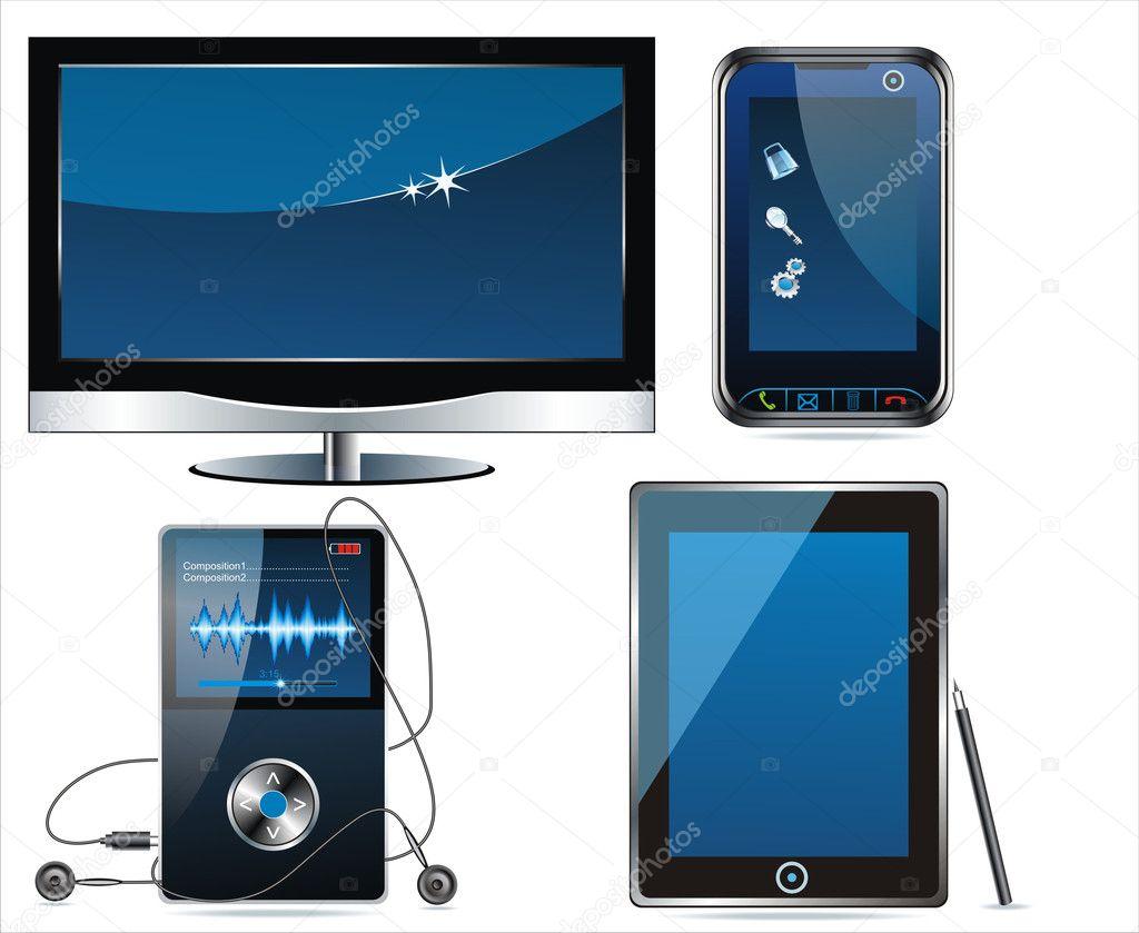 Multimedia clip-art vectors — Stock Vector © Success_ER ...