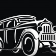 Silhouette of the old car - Stock Vector