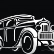 Silhouette of the old car — Stock Vector