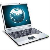 Laptop mit beleuchteten Globus — Stockvektor