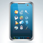 Mobile phone with icons — Vettoriale Stock