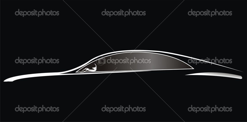 Car. Silhouette of the old car on a black background. Vector art in EPS format.   Stock Vector #6421882