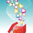 Box With Hearts - Stock Vector