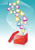Box With Hearts — Stock Vector