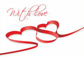 Red heart ribbon — Vector de stock