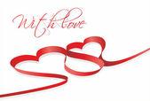 Red heart ribbon — Stock Vector