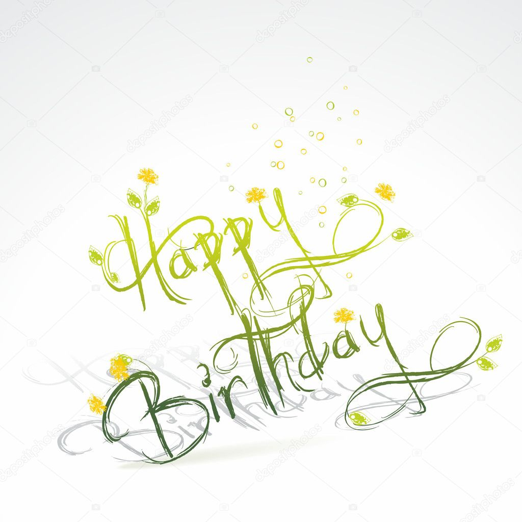 Birthday card with green grass and flowers — Stock Vector #6572029