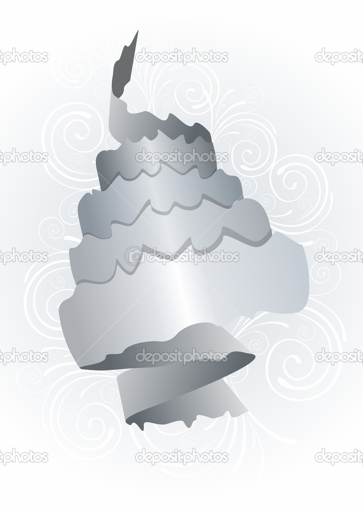 Abstract grey paper roll on white  — Stock Vector #6572156
