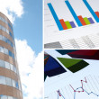 Building and financial chart, business collage — Stock Photo