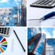 Office buildings and documents, business collage — Stock Photo #5911343